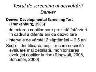 Testul de screening al dezvoltării Denver