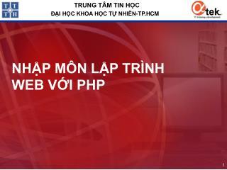 NHẬP MÔN LẬP TRÌNH WEB VỚI PHP