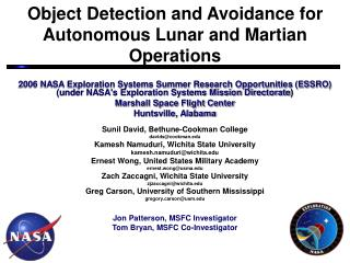 Object Detection and Avoidance for  Autonomous Lunar and Martian Operations