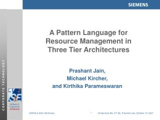 A Pattern Language for  Resource Management in  Three Tier Architectures