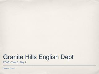 Granite Hills English Dept