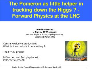 The Pomeron as little helper in tracking down the Higgs ? - Forward Physics at the LHC