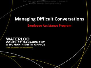 Managing Difficult Conversations Employee Assistance Program