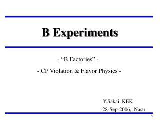 B Experiments