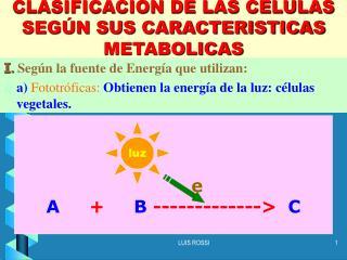 CLASIFICACION DE LAS CELULAS SEGÚN SUS CARACTERISTICAS METABOLICAS