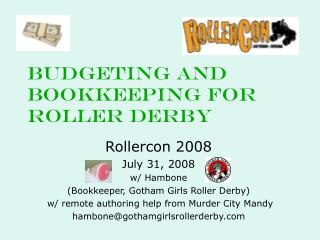 Budgeting and Bookkeeping for ROLLER Derby