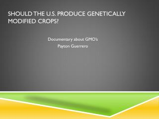Should the U.S. produce Genetically Modified Crops?
