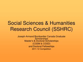 Social Sciences & Humanities Research Council (SSHRC)