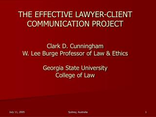 Initiated in 1998 by Washington University and the Centre for Legal Education in Australia