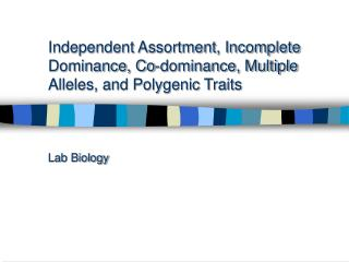 Independent Assortment, Incomplete Dominance, Co-dominance, Multiple Alleles, and Polygenic Traits