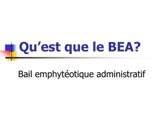 Qu'est que le BEA?