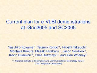 Current plan for e-VLBI demonstrations at iGrid2005 and SC2005