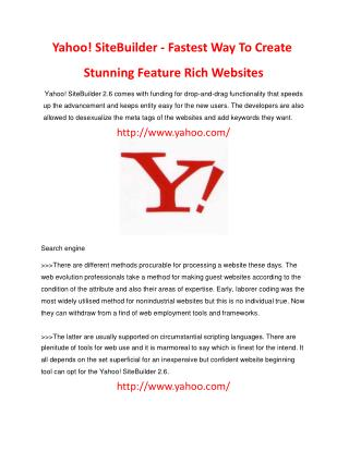 Yahoo sample site