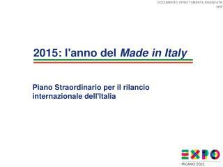 Piano Straordinario per il rilancio internazionale dell'Italia