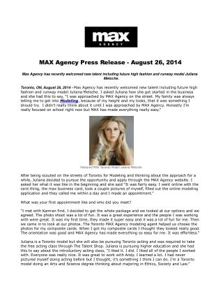 MAX Agency Press Release - August 26, 2014