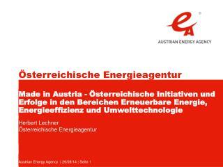 Herbert Lechner Österreichische Energieagentur