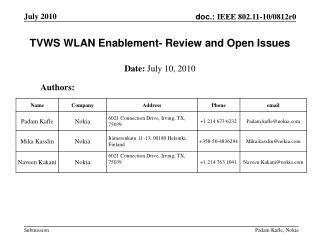 TVWS WLAN Enablement- Review and Open Issues