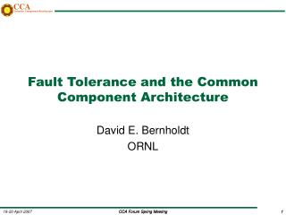 Fault Tolerance and the Common Component Architecture