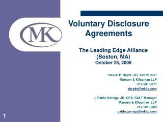 Steven P. Bryde, JD, Tax Partner Marcum & Kliegman LLP 212-981-3071 sbryde@mkllp