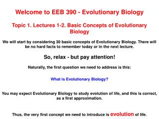 Welcome to EEB 390 - Evolutionary Biology