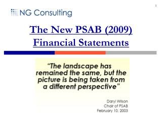The New PSAB (2009) Financial Statements