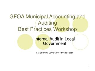 GFOA Municipal Accounting and Auditing Best Practices Workshop