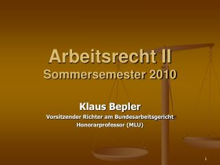 Arbeitsrecht II Sommersemester 2010