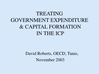 TREATING  GOVERNMENT EXPENDITURE  & CAPITAL FORMATION   IN THE ICP