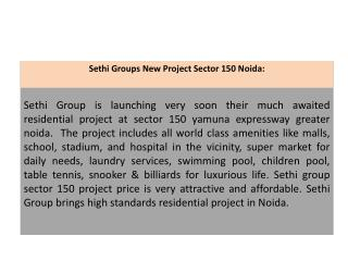 Sethi Group Noida 9899303232 Sethi Developers New Project
