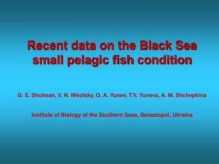 Recent data on the Black Sea small pelagic fish condition