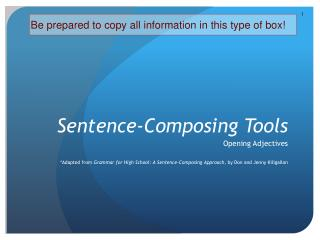 Sentence-Composing Tools