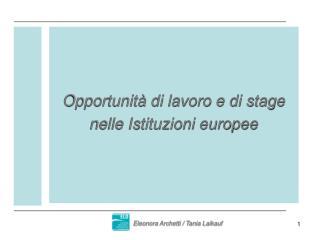 Opportunità di lavoro e di stage nelle Istituzioni europee