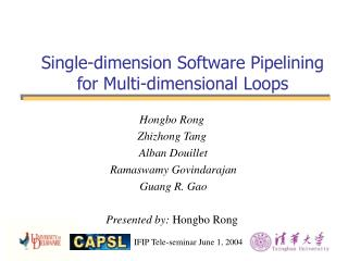 Single-dimension Software Pipelining for Multi-dimensional Loops