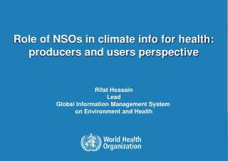 Role of NSOs in climate info for health: producers and users perspective