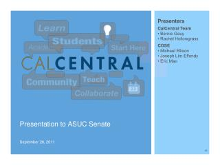Presentation to ASUC Senate September 28, 2011