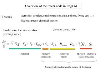 Overview of the tracer code in RegCM