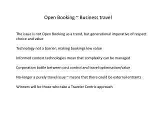 Open Booking ~ Business travel