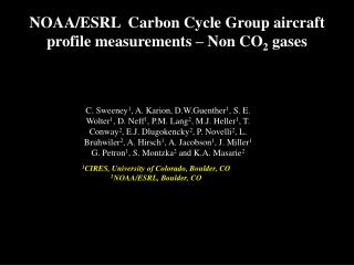 NOAA/ESRL  Carbon Cycle Group aircraft profile measurements – Non CO 2  gases