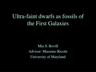 Ultra-faint dwarfs as fossils of the First Galaxies