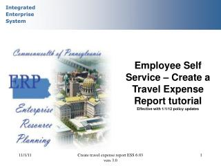 Employee Self Service – Create a Travel Expense Report tutorial