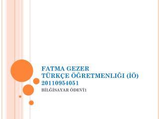 FATMA GEZER TÜRKÇE ÖĞRETMENLIĞI (İÖ) 20110954051