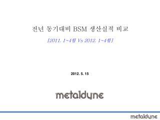 전년 동기대비  BSM  생산실적 비교 [2011. 1~4 월  Vs 2012. 1~4 월 ]
