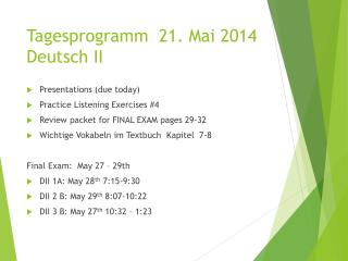 Tagesprogramm 21.  Mai 2014 Deutsch II