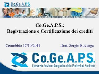 Co.Ge.A.P.S. :   Registrazione e Certificazione dei crediti