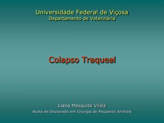 Universidade Federal de Vi�osa Departamento de Veterin�ria