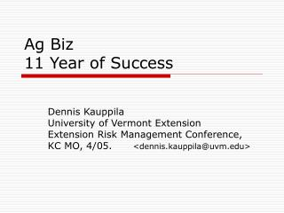 Ag Biz 11 Year of Success