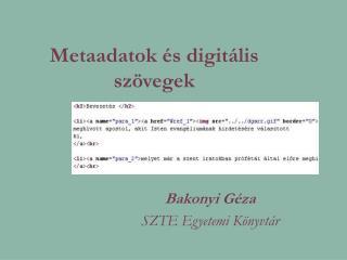 Metaadatok és digitális szövegek