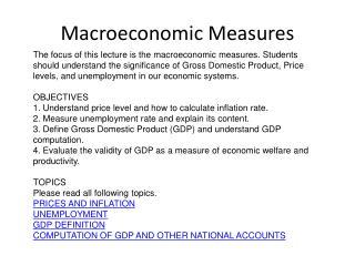 Macroeconomic Measures
