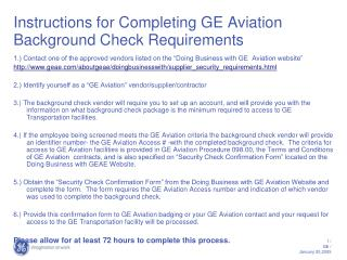 Instructions for Completing GE Aviation Background Check Requirements