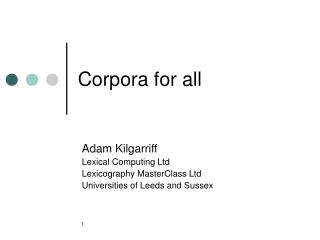 Corpora for all